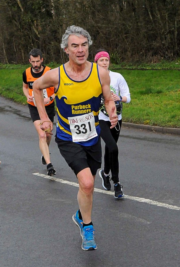 Nigel Haywood storming to an excellent age category win in the Blackmore Vale Half Marathon