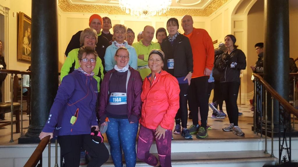 The Saturday Morning Crew in Upton House after the Winter Warmer with Tara McLintic front left