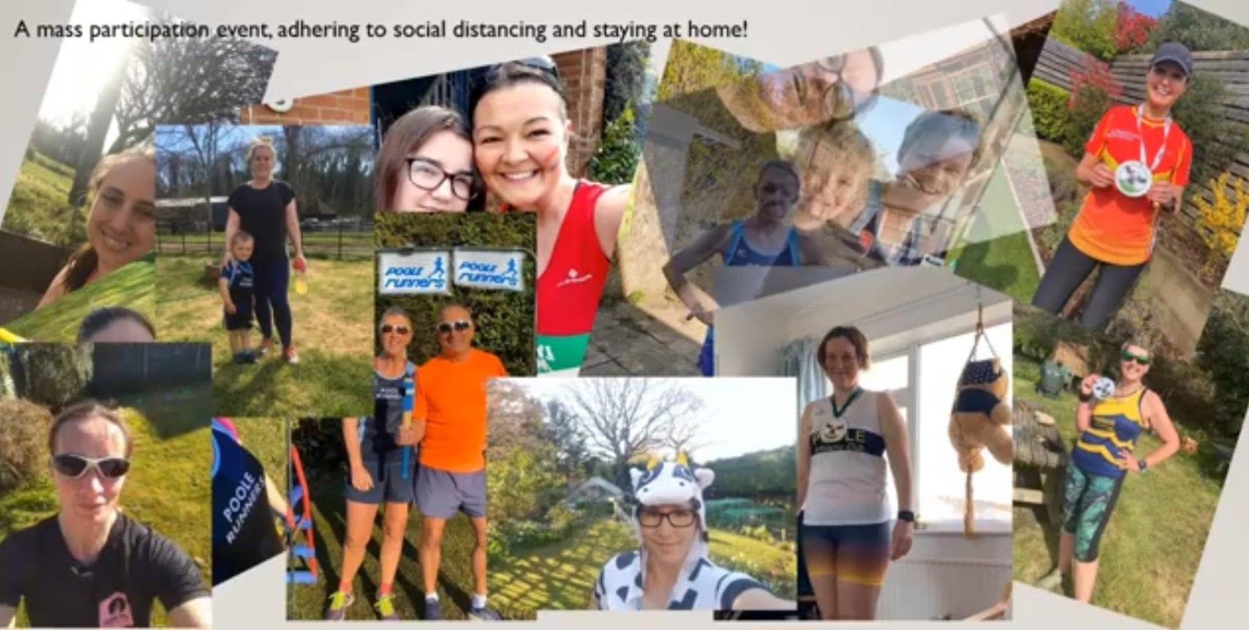 Abigail Baker (top left) and Rose Clarke (bottom right) in the Garden Marathon Challenge online collage
